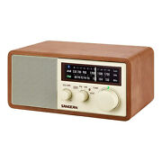 Sangean Wr-16 Am Fm Aux Wooden Cabinet Table Top Radio And Bluetooth Receiver