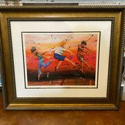 Marcus Glenn Art Blowing In The Wind Red Mixed Media Signed Framed 2006 Coa