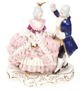 Antique Rare Germany Dresden Lace Volkstedt Art Couple Lovers Porcelain Figurine