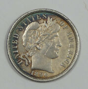 Bargain 1896-o Barber Dime Almost Uncirculated Silver 10c