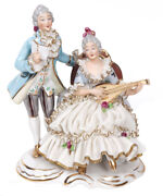 Antique Rare Germany Dresden Lace Volkstedt Couple Musician Porcelain Figurine