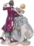 Antique Rare Germany Dresden Lace Volkstedt Couple Dancing Porcelain Figurine