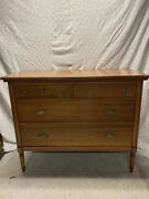 Antique Oak Chest Of Drawers With Dentil Accent And Decorative Pulls