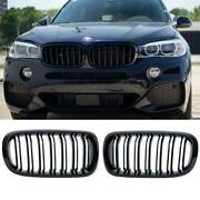 Front Kidney Grille Grill For 2014-2018 Bmw X5 X6 F15 F16 X5 X6 Gloss Black