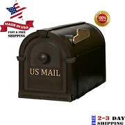 Post Mount Mailbox Brown Durable Plastic Postal Large Mail Box Gold Lettering