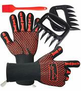 Euhome 3 In 1 Bbq Gloves Grill Accessories With En407 Certified Oven Mitts 1472