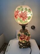 Vtg Parlor Lamp Gone Wth The Wind Hurricane Hand Painted Double Globe Red Tan