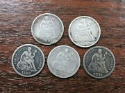 Seated Liberty Dime Lot 5 Average Circulated Silver Coins Q3l2
