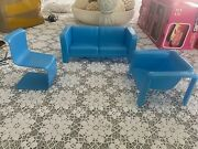 Vintage 1973 Mattel Barbie Townhouse Furniture Lot Of 6, Chairs, Couch, Bed