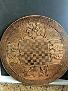 Antique Wood Carved 19andrdquo Game Table Top W/ Figural Scenes Bali Indonesiaafrica