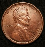1914-s Lincoln Wheat Cent, Key Date Solid Unc+++