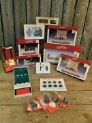 Lot 14 Christmas Village Accessories Lemax Stone Brick Walls Trees People Lamps