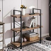 3-tier Bookshelf With Industrial Shelves, Vintage Wood And Metal Bookcase