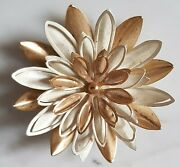Very Large White And Gold Flower Brooch By Sarah Coventry