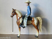 Vintage 1950and039s Hartland Blue Shirt Champ Cowboy W/brown And White Pinto Scarce