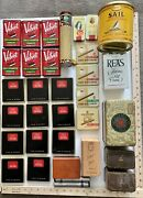 Vintage Assorted Tobacco Cigar Tea Empty Tins And Boxes Lot Of 35 Total Pieces