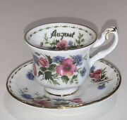 Royal Albert 1979 Flower Of The Month Miniature Poppy August Tea Cup And Saucer