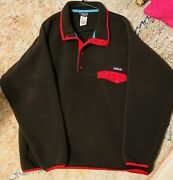 Mens Xl Synchilla Snap T Fleece Pullover Brown/red