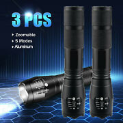 3x Tactical 18650 Flashlight T6 Led High Powered 5modes Zoomable Aluminum Torch