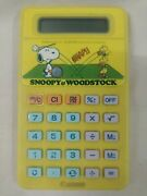 Snoopy And Woodstock Vintage Yellow Calculator Canon Lc-402 Rare