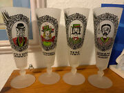 Vintage Mcm Gay Fad Comic Victorian Family Frosted Pilsner Glass Set