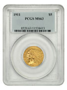 1911 5 Pcgs Ms63 - Indian Half Eagle - Gold Coin