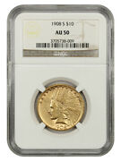1908-s 10 Ngc Au50 - Better Date S-mint - Indian Eagle - Gold Coin
