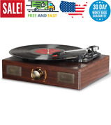 Vintage Vinyl Record Player With Speaker Classic Aux In Rca Output Retro 3 Speed
