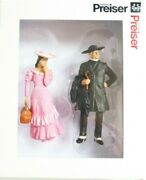 Preiser G 122.5 Scale 45054-2 Old Time Pastor And Young Girl Pink Dress Figures