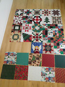 Lot Of 33 Christmas Stars Etc Pieced Quilt Blocks And Correlating Cotton Fabric Sq