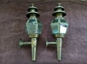 Antique Pair Of Brass Oil Carriage Lanterns Lamps