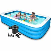 Swimming Pool For Kids And Adults - 120x72x22in Kiddie Pool With Pump,piscinas P