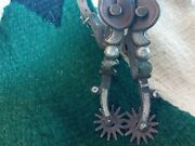Antique Sterling Silver Conchos And Inlaid Western California Cowboy Spurs