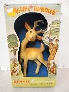 Rempel Flagtail Deer Reindeer Bambi 1950s Animal Rubber Squeeze Toy Boxed 3