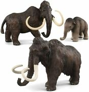3 Pcs Realistic Ancient Animal Figures Mammoth Family Figurines Educational Toys