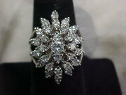 Antique1920and039s Natural Diamond Cluster Ring 14k White Gold Sz7.75 Buy Now