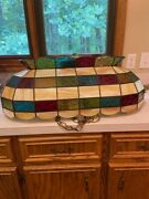 Oval Long Vintage Slag Shades Multicolor Stained Glass Hanging Light Fixture