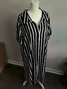 Lane Bryant Striped Black / White Buttoned Gown Dress 22 / 24 Nwt