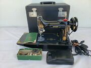 Vintage Singer 221-1 Featherweight Sewing Machine In Good Condition And Works Well