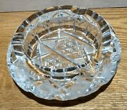 Lead Crystal Clear Cut Glass Cigar Ashtray Etched Very Heavy 6 Diameter