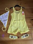 Vintage 1950s Gingham Acrylic Swimsuit Romper Playsuit Mediumpinup Scarf Booties