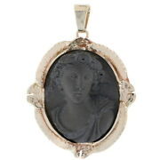 Yellow Gold Carved Lava Cameo Vintage Pendant - 14k Woman's Silhouette