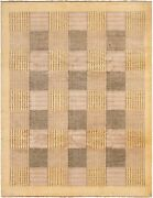 Vintage Geometric Hand-knotted Carpet 8and0393 X 10and0398 Traditional Wool Area Rug