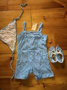 Vintage 1950s Gingham Acrylic Swimsuit Romper Playsuit S Pinup Scarf Booties