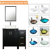 36and039and039 Black Bathroom Vanity W/mirror Cabinet Set Vessel Glass Ceramic Sink Faucet