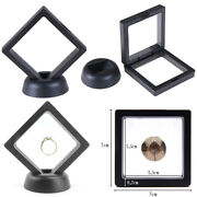 7070mm Black 3d Floating Jewelry Coin Display Frame Holder Box Case W/ Stna