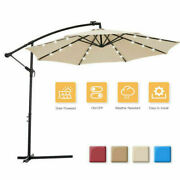 10 Ft Solar Led Patio Outdoor Hanging Cantilever Umbrella W/24 Led Lights