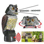 Garden Realistic Owl Decoy W/ Rotating Head And Sound Shadow Control And C