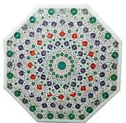 42 Inches Marble Dining Table Top Mosaic Art Conference Table For Office Purpose