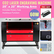 60w 28x20 70x50cm Co2 Laser Engraver Cutter With Rotary Axis Autofocus Ruida